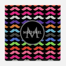 Girly Colorful Mustache Pattern Monogram Tile Coas