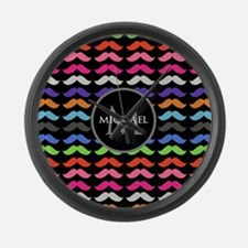 Girly Colorful Mustache Pattern Monogram Large Wal
