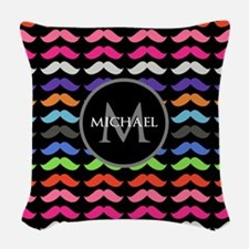 Girly Colorful Mustache Pattern Monogram Woven Thr