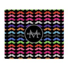 Girly Colorful Mustache Pattern Monogram Throw Bla