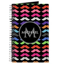 Girly Colorful Mustache Pattern Monogram Journal