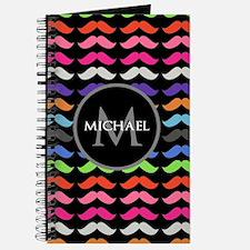 Girly Colorful Mustache Pattern Monogram Journal