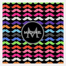 Girly Colorful Mustache Pattern Monogram Invitatio