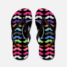 Girly Colorful Mustache Pattern Monogram Flip Flop