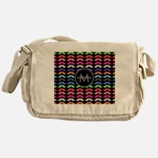 Girly Colorful Mustache Pattern Monogram Messenger