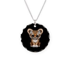 Cute Tiger Cub Baby on Black Necklace