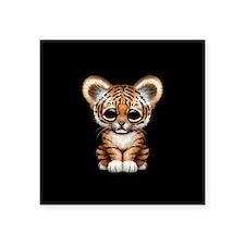 Cute Tiger Cub Baby on Black Sticker