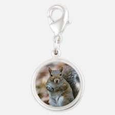 Cute Squirrel Silver Round Charm