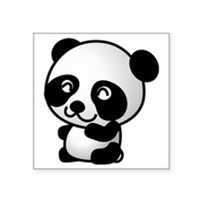 "Sweet Panda Bear Square Sticker 3"" x 3"""