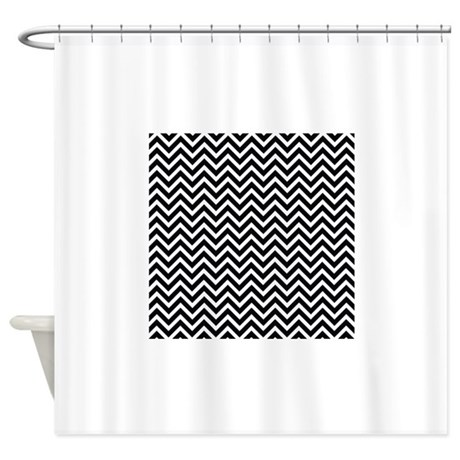 black and white chevron shower curtain by