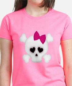Skull with Pink Bow Tee