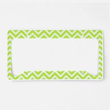 pear green and white chevron stripe License Plate