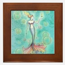 Bubbles Mermaid Fantasy Watercolor Art Framed Tile