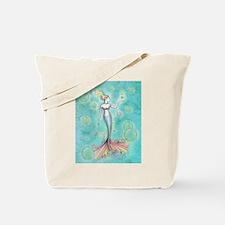 Bubbles Mermaid Fantasy Watercolor Art Tote Bag