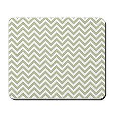 taupe and white chevron stripe Mousepad