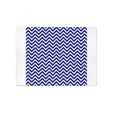 Royal Blue And White Chevron Stripe 5u0027x7u0027Area Rug