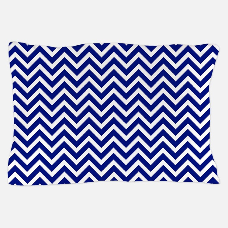 royal blue and white chevron stripe Pillow Case