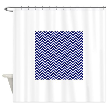Royal blue and white chevron stripe shower curtain by for Blue and white striped bathroom accessories