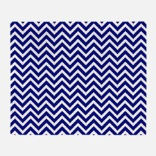 royal blue and white chevron stripe Throw Blanket