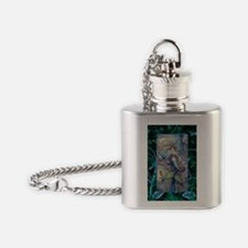 Mermaid and Seahorse Fantasy Art Flask Necklace