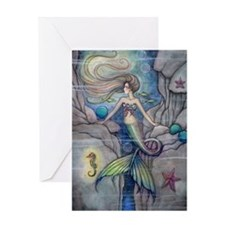 Mermaid and Seahorse Fantasy Art Greeting Card