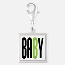 Twin Baby B Green Silver Square Charm