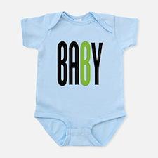 Twin Baby B Green Onesie