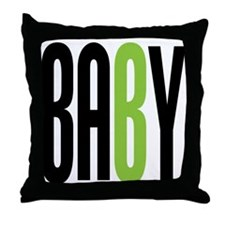 Twin Baby B Green Throw Pillow