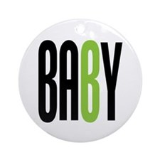 Twin Baby B Green Ornament (Round)