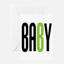 Twin Baby B Green Greeting Card