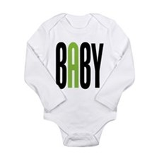 Twin Baby A Green Long Sleeve Infant Bodysuit