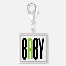 Twin Baby A Green Silver Square Charm