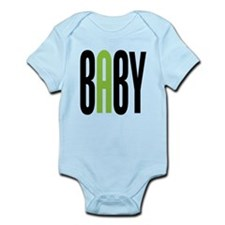 Twin Baby A Green Infant Bodysuit