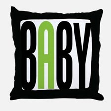 Twin Baby A Green Throw Pillow