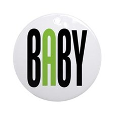 Twin Baby A Green Ornament (Round)