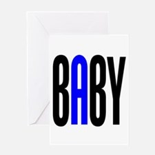 Twin Baby A Blue Greeting Card