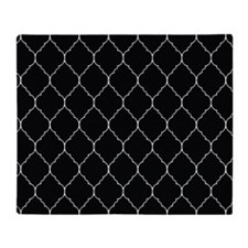 black and white quatrefoil Throw Blanket