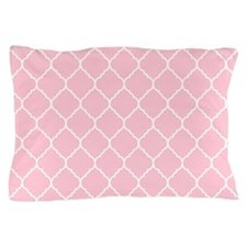 pink and white quatrefoil Pillow Case