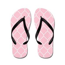 pink and white quatrefoil Flip Flops