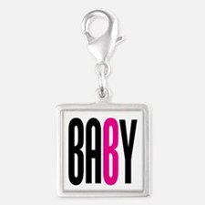 Twin Baby B Pink Silver Square Charm