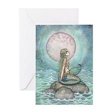 The Pastel Sea Mermaid Fantasy Art Greeting Cards