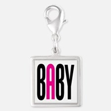 Twin Baby A Pink Silver Square Charm