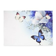 Flowers and Butterflies 5'x7'Area Rug