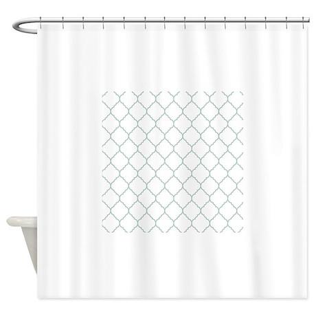 Grey and white quatrefoil shower curtain by for Quatrefoil bathroom decor