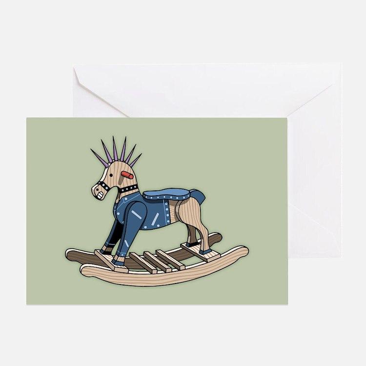 Punk Rocking Horse Greeting Card