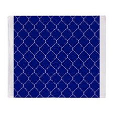 royal blue and white quatrefoil Throw Blanket
