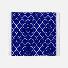 royal blue and white quatrefoil Throw Blanket