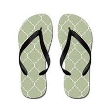 taupe and white quatrefoil Flip Flops