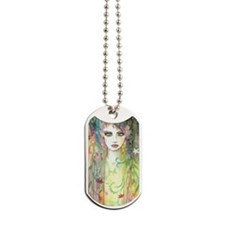Garden Faerie Abstract Watercolor Portriat Dog Tag
