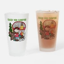Girl Crazy For Camping Drinking Glass